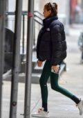 Kaia Gerber returns home after a yoga session at Alo Yoga Sanctuary in New York City
