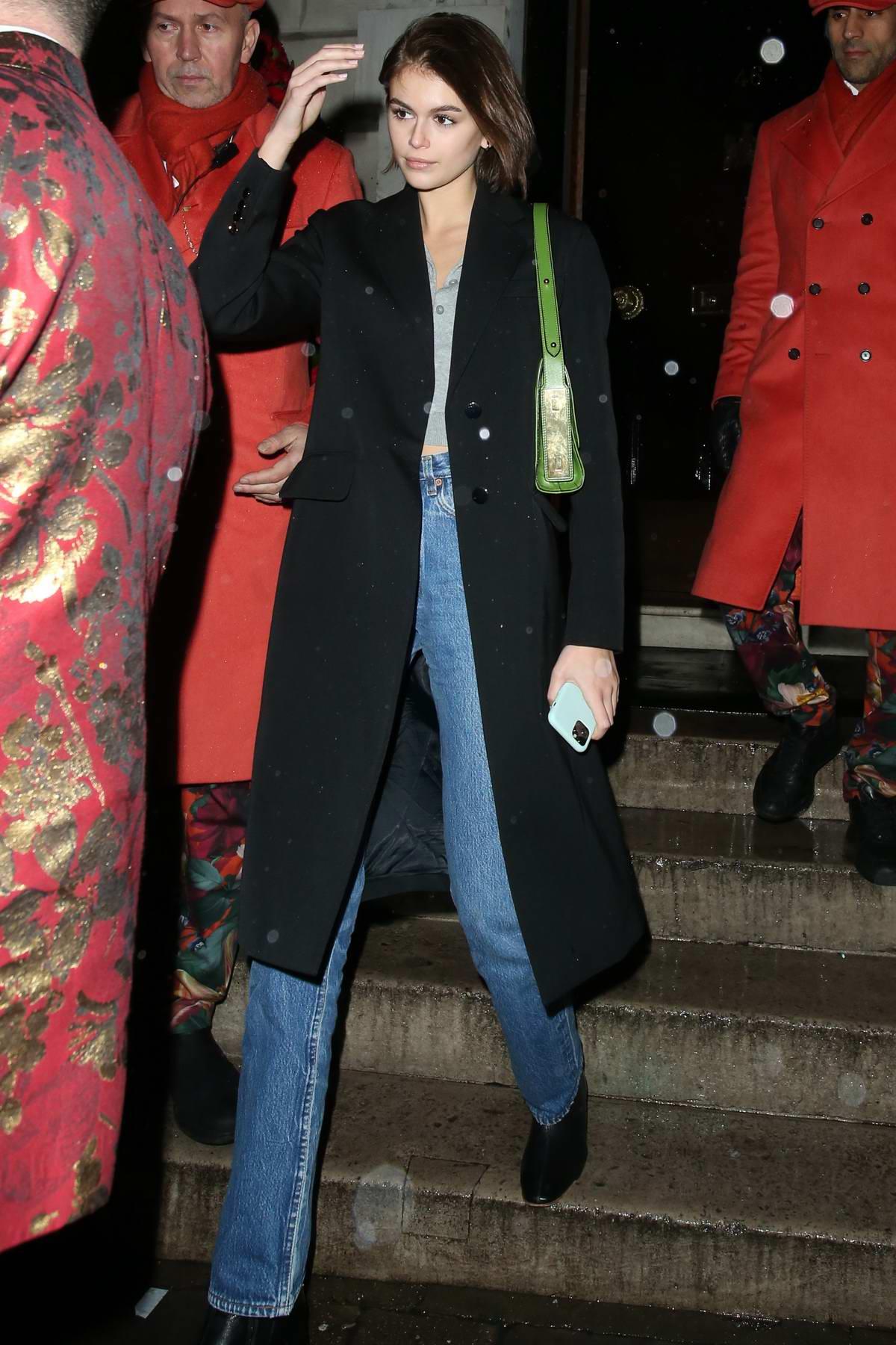 Kaia Gerber seen leaving Annabel's in London, UK