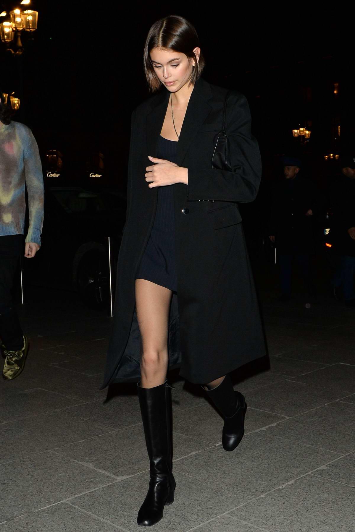 Kaia Gerber sports all-black ensemble as she steps out during Paris Fashion Week 2020 in Paris, France