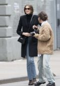 Kaia Gerber stops traffic during a Longcamp Bag photoshoot in New York City