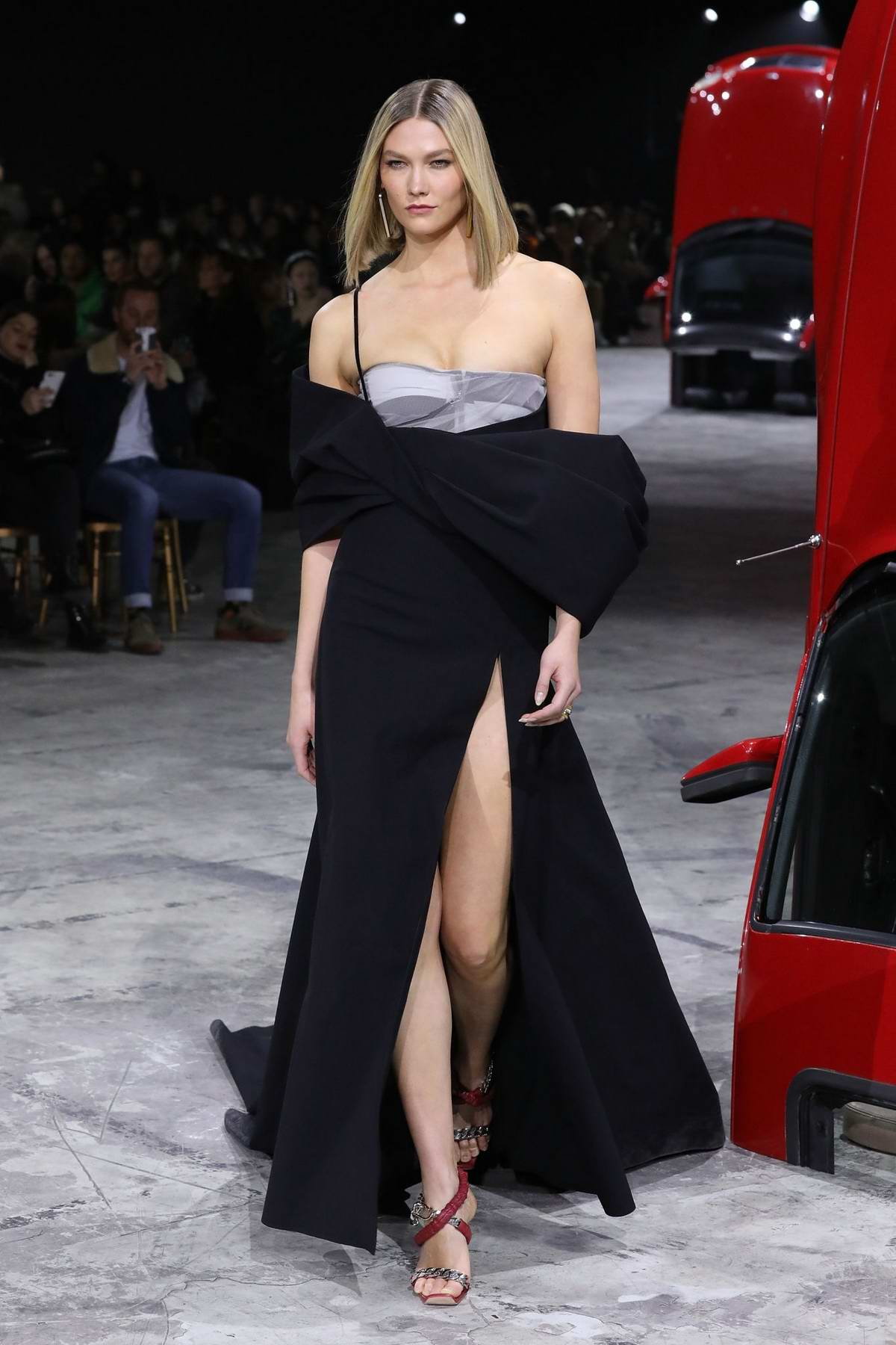 Karlie Kloss walks the runway at the Off-White show, F/W 2020 during Paris Fashion Week in Paris, France