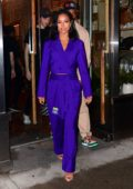 Karrueche Tran seen wearing a purple suit as she films Makeover Show in New York City