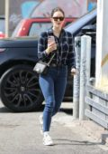 Katharine McPhee wears a blue plaid shirt and jeans while out for lunch in West Hollywood, California