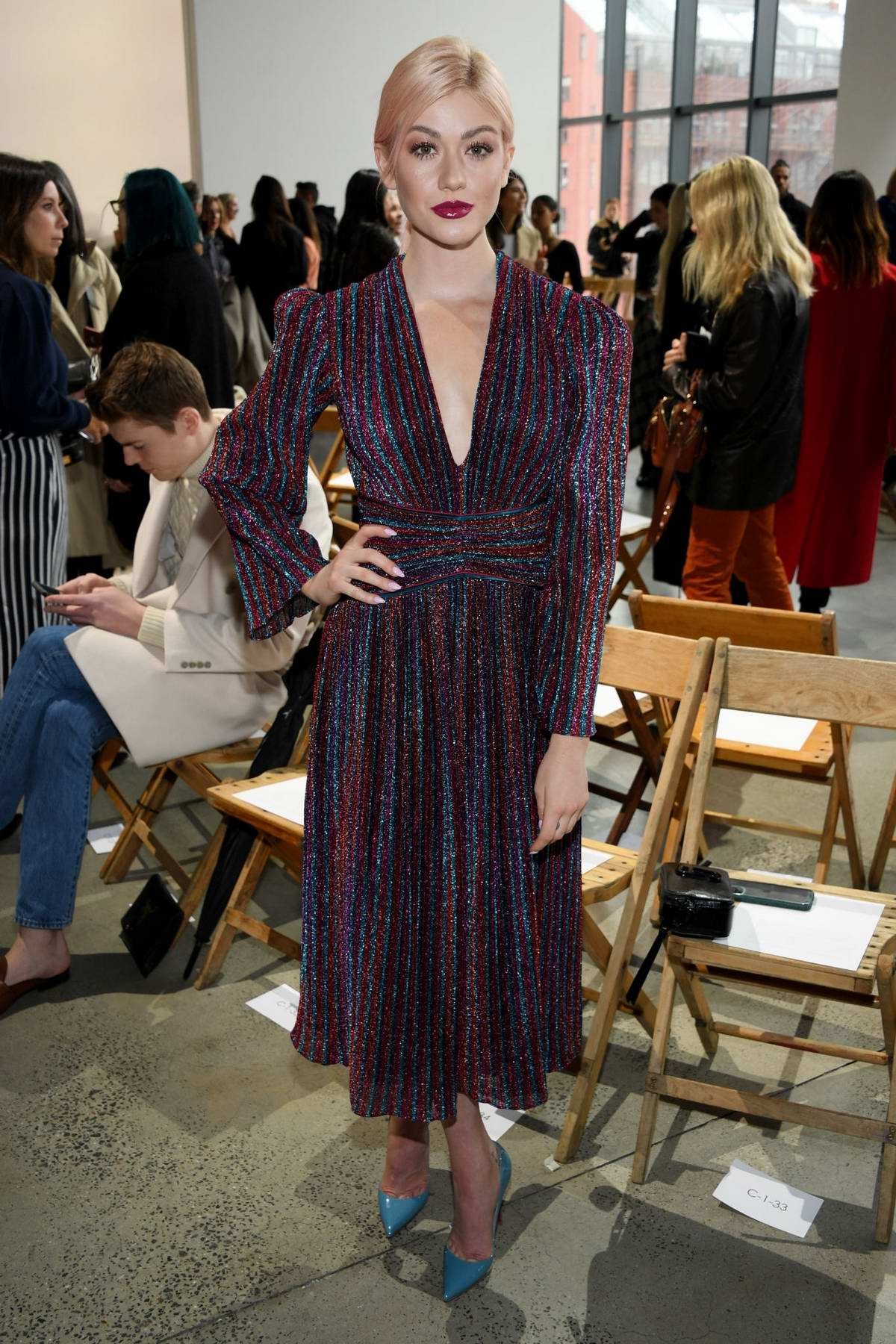 Katherine McNamara attends the Jonathan Simkhai Fashion Show during NYFW 2020 in New York City