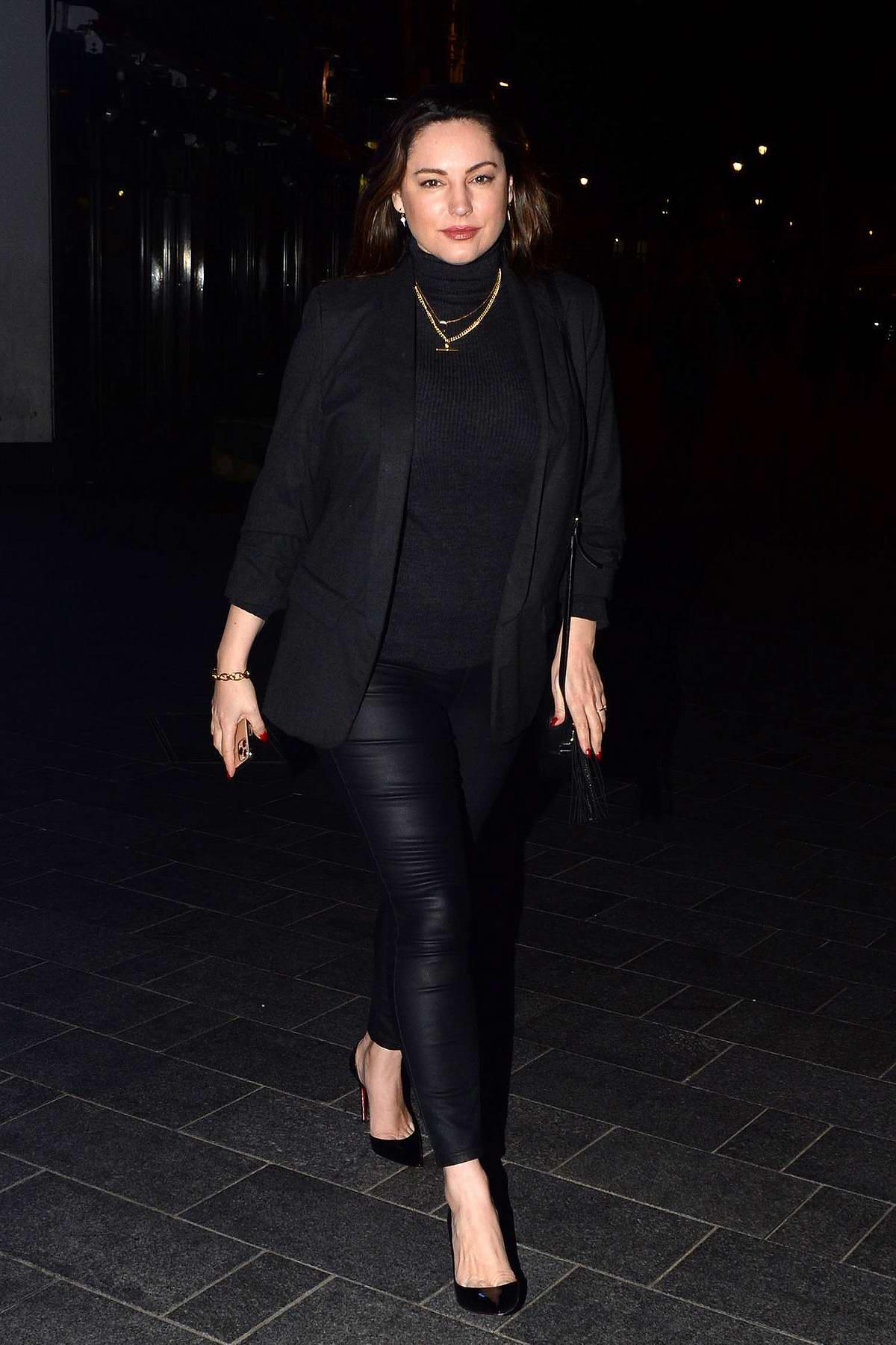 Kelly Brook dons all-black as she leaves Global Radio Studios in London, UK