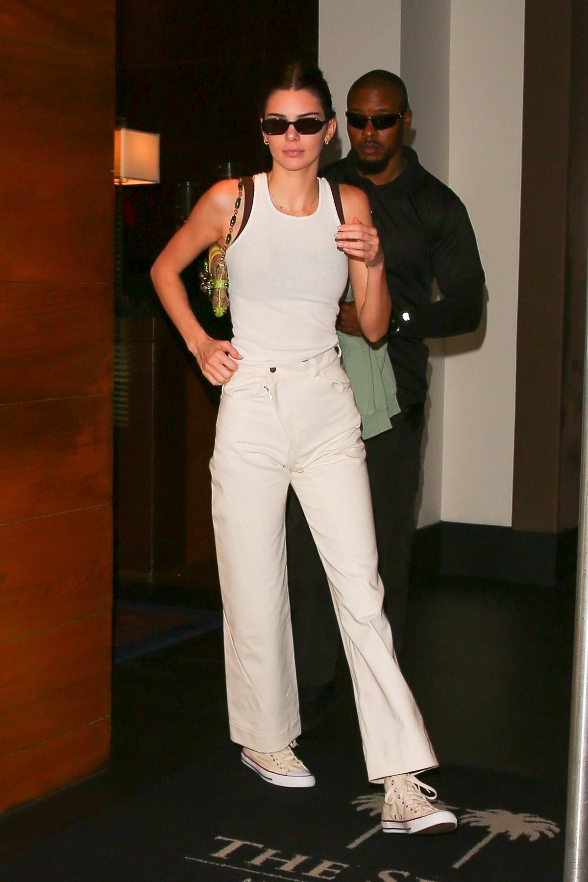 Kendall Jenner dressed all-white as she leaves The Setai Hotel in Miami, Florida