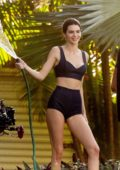 Kendall Jenner seen wearing a crop top and shorts during a photoshoot in Miami Beach, Florida