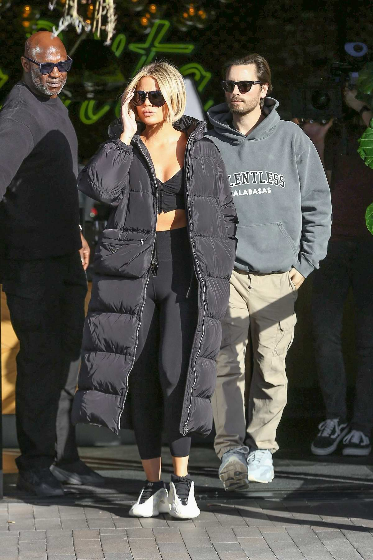 Khloe Kardashian and Scott Disick step out for coffee while filming KUWTK in Woodland Hills, California