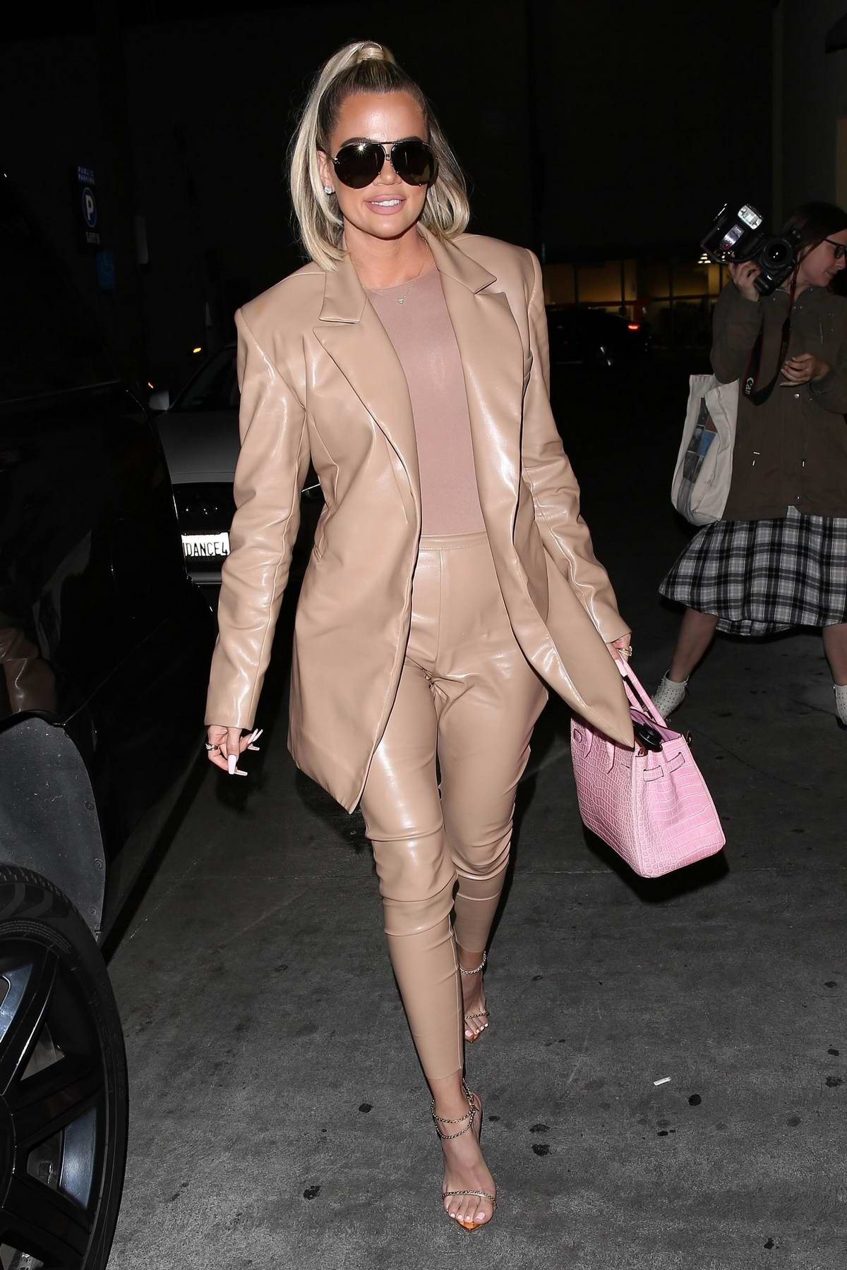 Khloe Kardashian spotted in a beige leather suit as she arrives at Carousel restaurant in Glendale, California