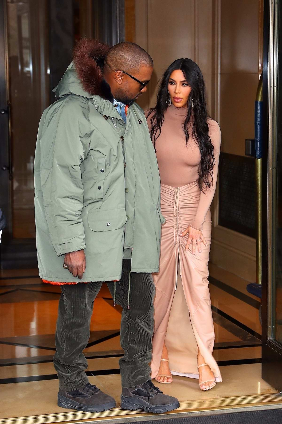 Kim Kardashian and Kanye West leave their hotel and head to the SKIMS launch event at Nordstrom in New York City