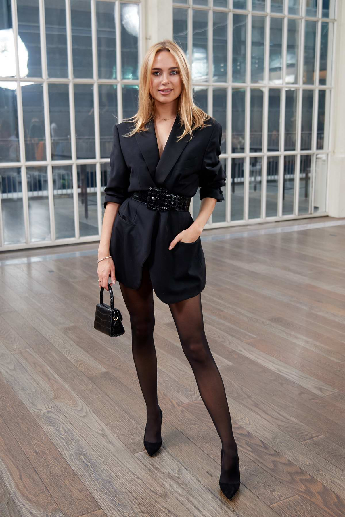 Kimberley Garner attends the Atelier Zuhra Fall/Winter 2020 show during London Fashion Week in London, UK