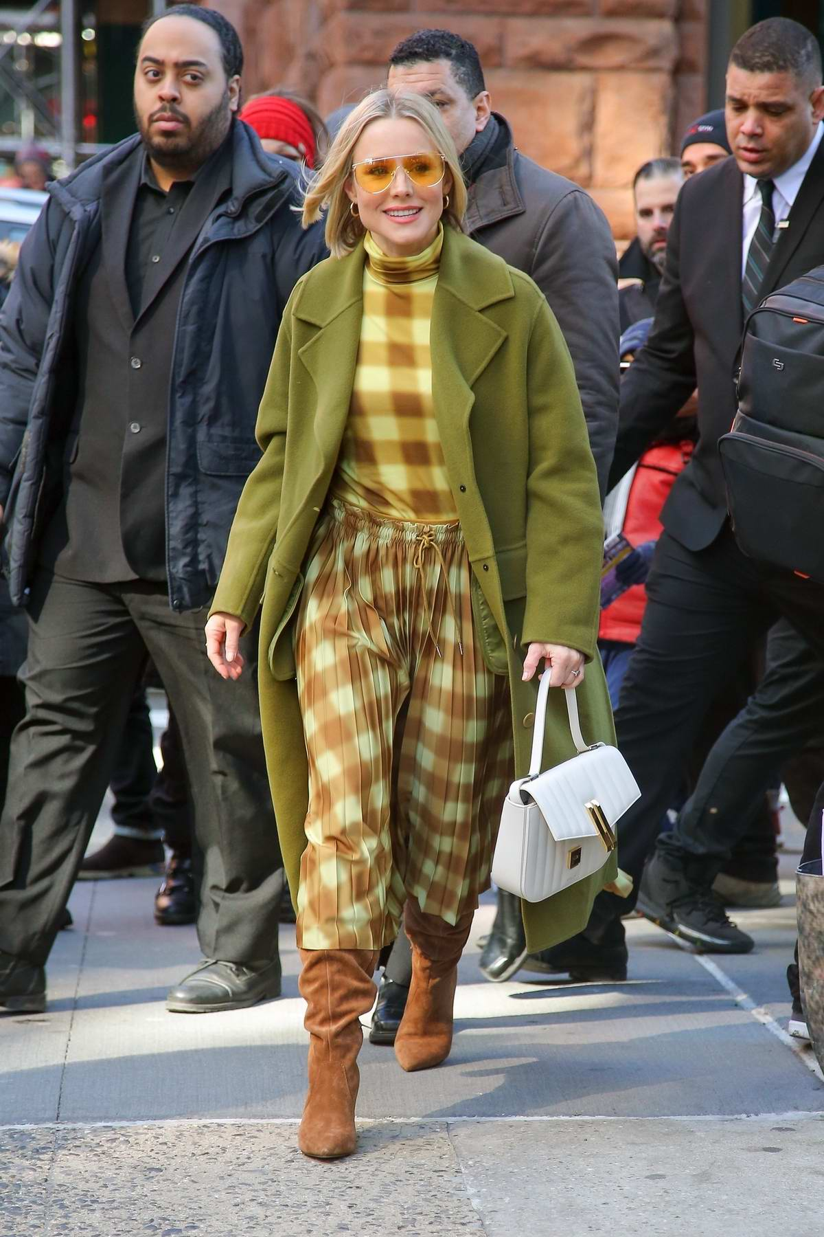 Kristen Bell dons plaid while promoting 'Hello Bello' in New York City