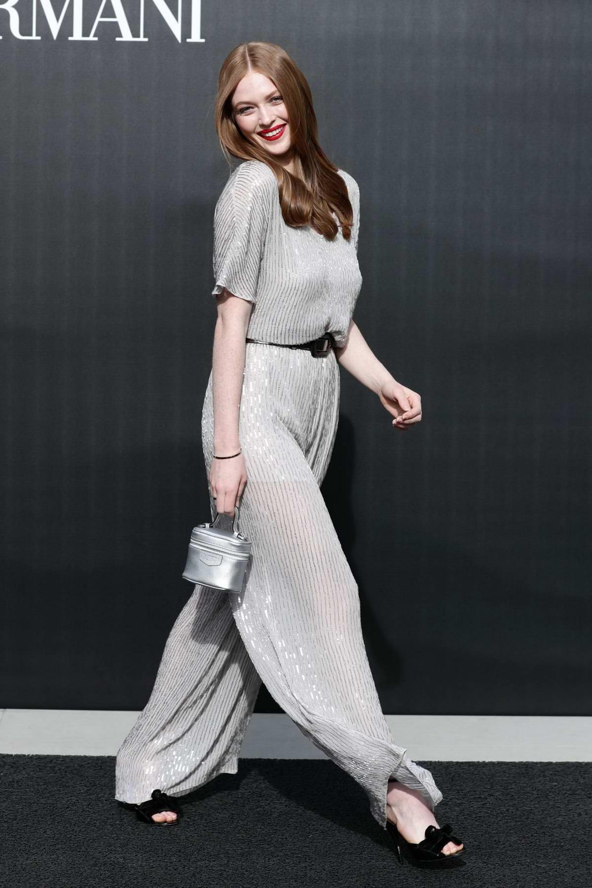 Larsen Thompson attends the Emporio Armani fashion show, F/W 2020 during Milan Fashion Week in Milan, Italy
