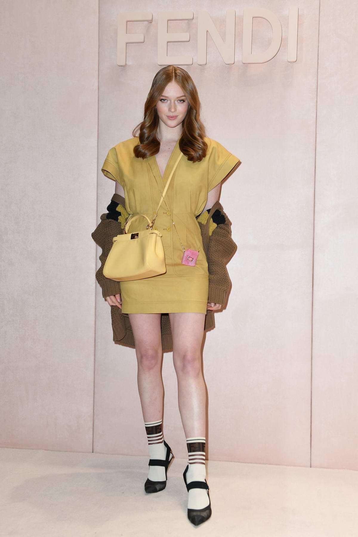 Larsen Thompson attends the Fendi fashion show, F/W 2020 during Milan Fashion Week in Milan, Italy