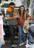 Lily Collins spotted while shopping at the farmers market with boyfriend Charlie McDowell in Los Angeles