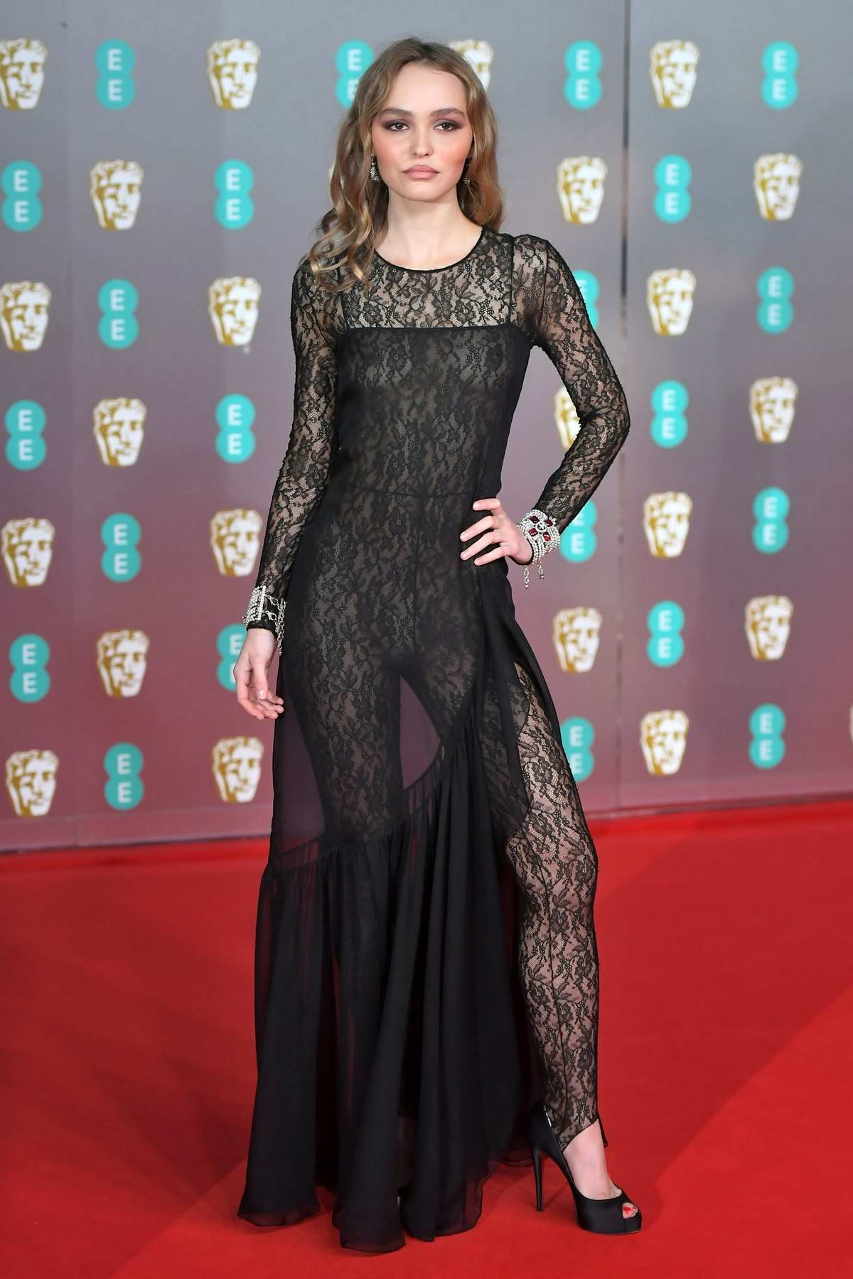 Lily-Rose Depp attends the 73rd EE British Academy Film Awards at Royal Albert Hall in London, UK