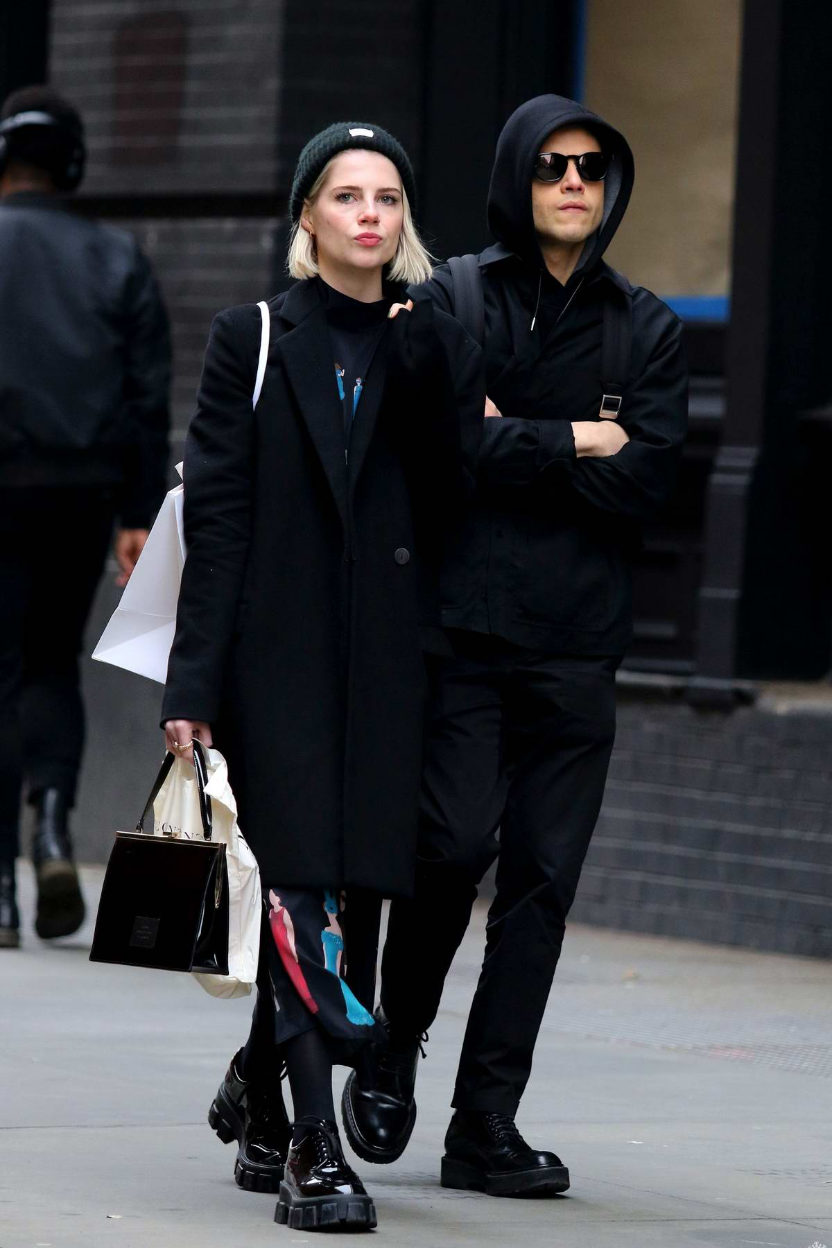 Lucy Boynton and Rami Malek take a subway ride after some shopping in Soho, New York City