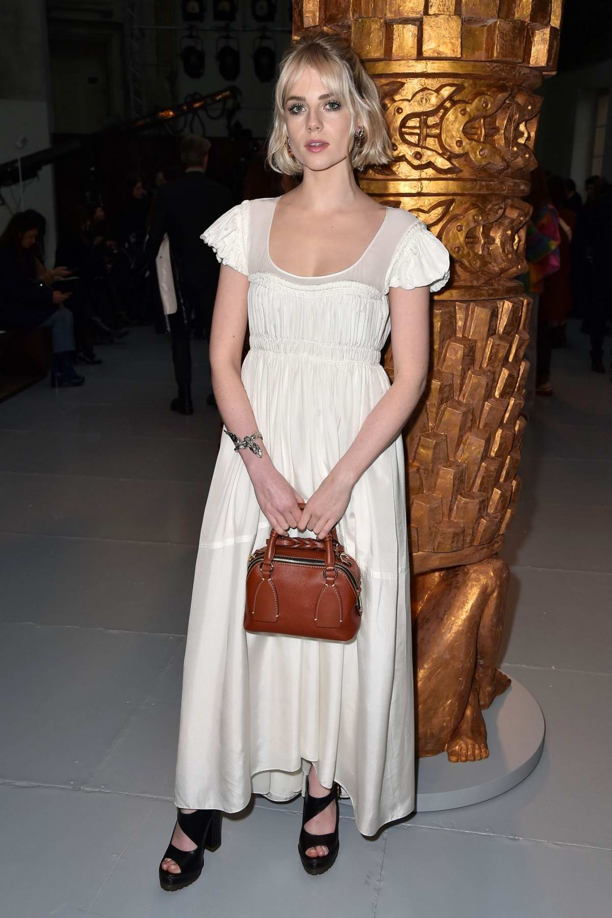 Lucy Boynton attends the Chloe show, F/W 2020 during Paris Fashion Week in Paris, France