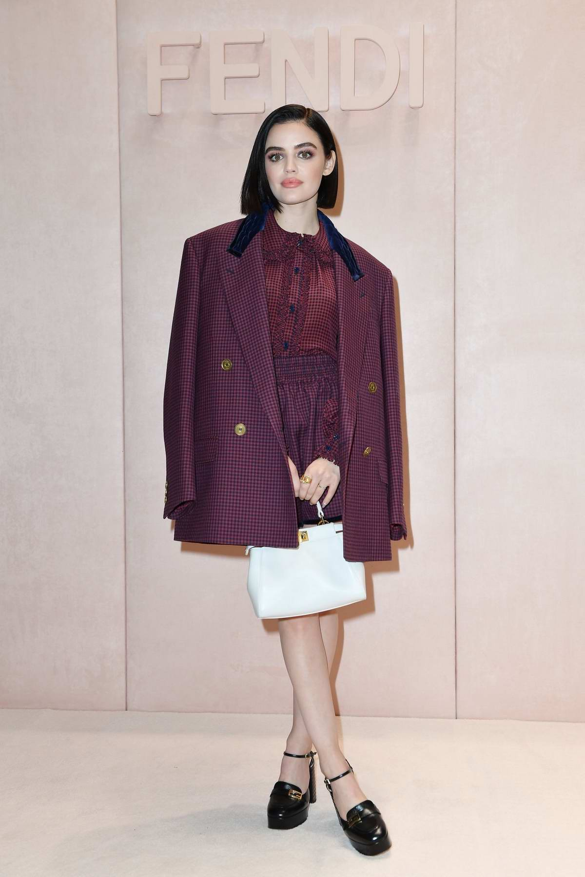 Lucy Hale attends the Fendi fashion show, F/W 2020 during Milan Fashion Week in Milan, Italy