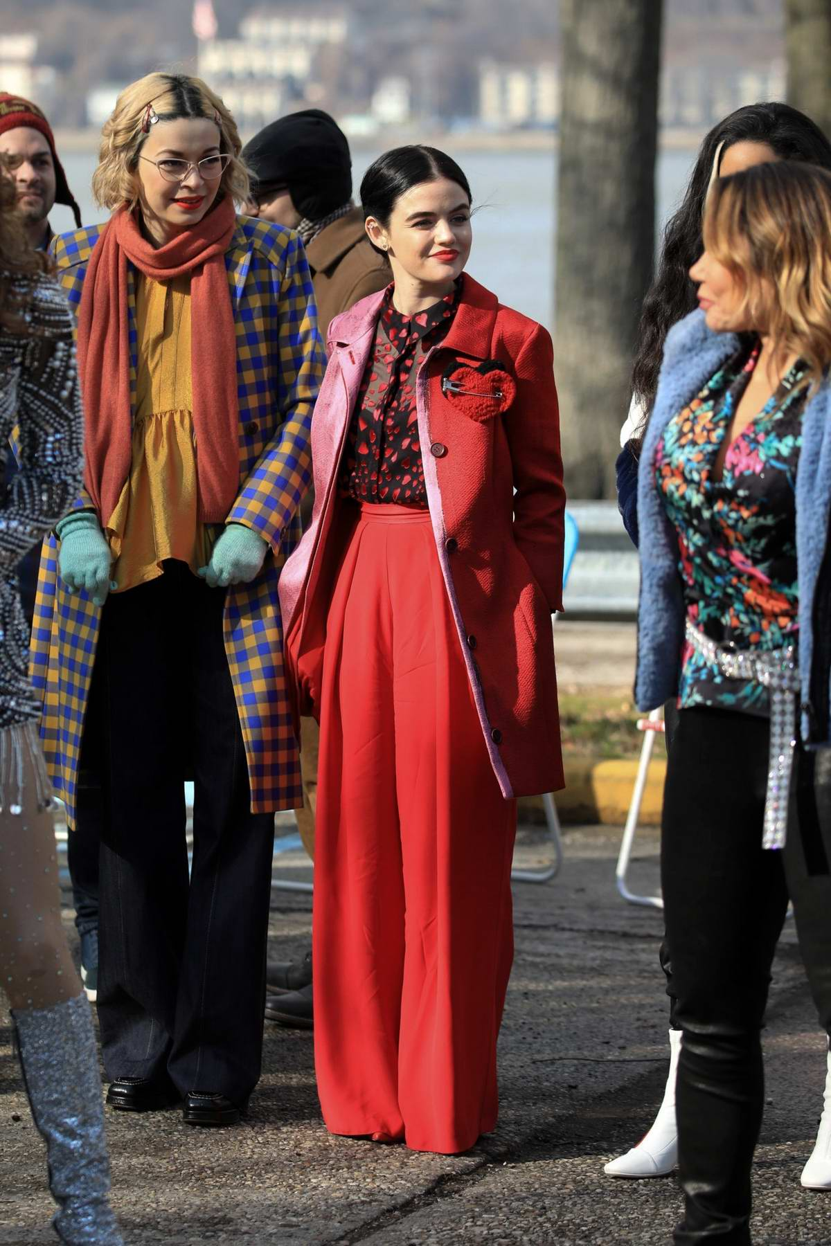 Lucy Hale dons a bright red outfit while on the set of 'Katy Keene' in New York City