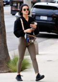 Lucy Hale looks fit in green leggings while out running a few errands in Los Angeles