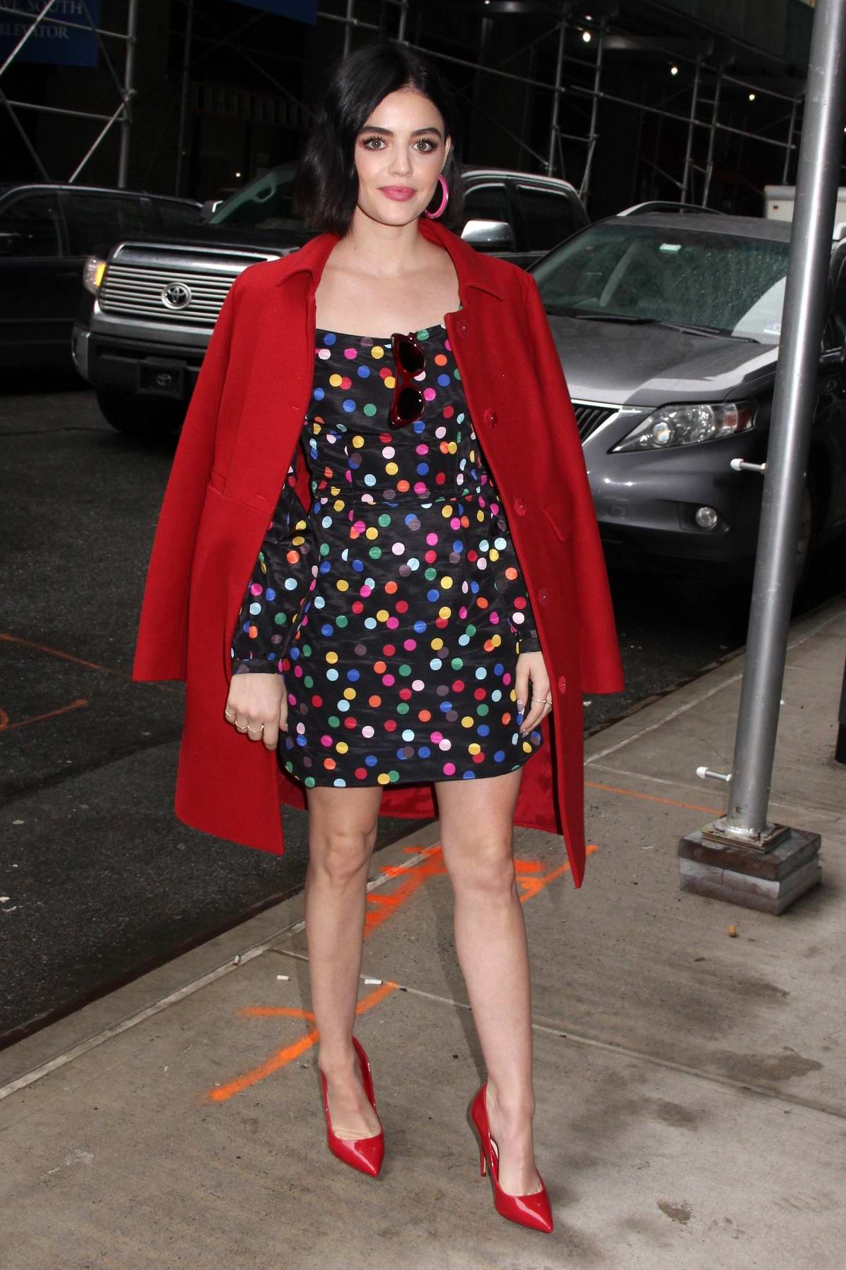 Lucy Hale looks pretty in a colorful polka dot dress while visiting Buzzfeed AM To DM in New York City