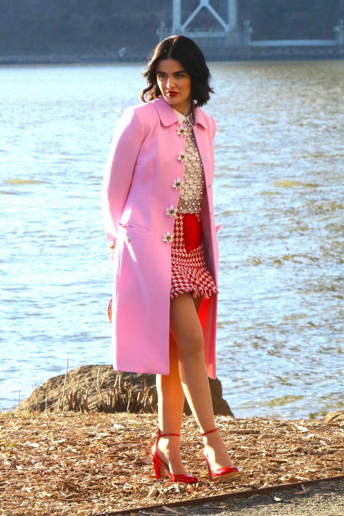 Lucy Hale seen filming a riverside scene on the 'Katy Keene' set in New York
