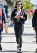 Lucy Hale steps out with her friends after a workout session in Los Angeles