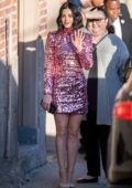 Lucy Hale stuns in a sparkly pink dress while visiting 'Jimmy Kimmel Live' in Hollywood, California