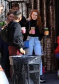 Madelaine Petsch picks up some beverages with her friends from Alfred Coffee in Studio City, California