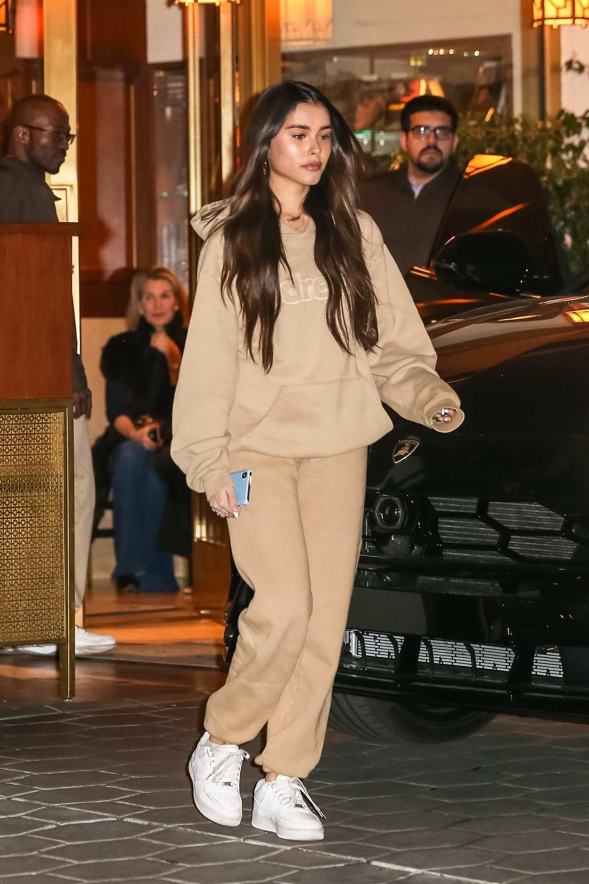 Madison Beer grabs dinner with friends at the Sunset Tower Hotel in West Hollywood, California