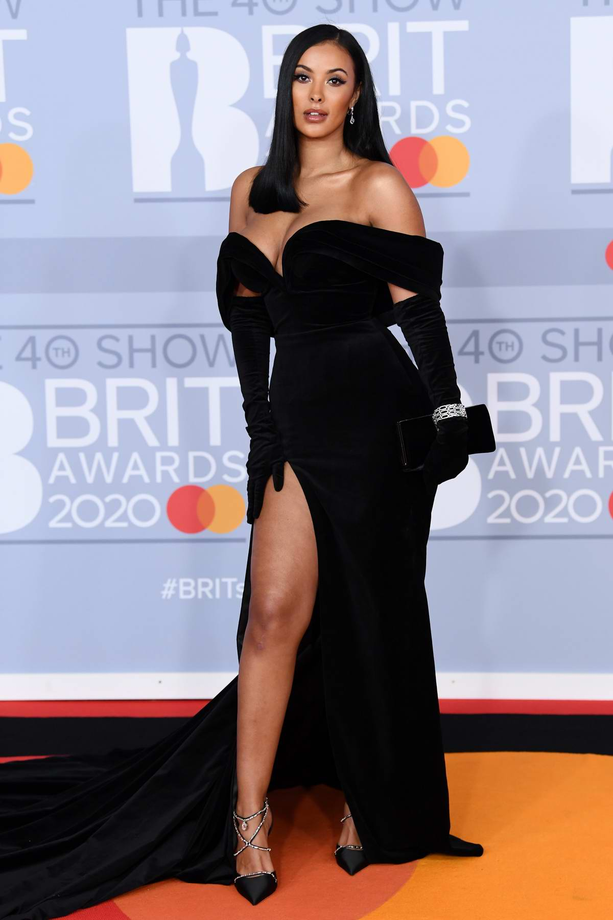 Maya Jama attends the BRIT Awards 2020 at The O2 Arena in London, UK