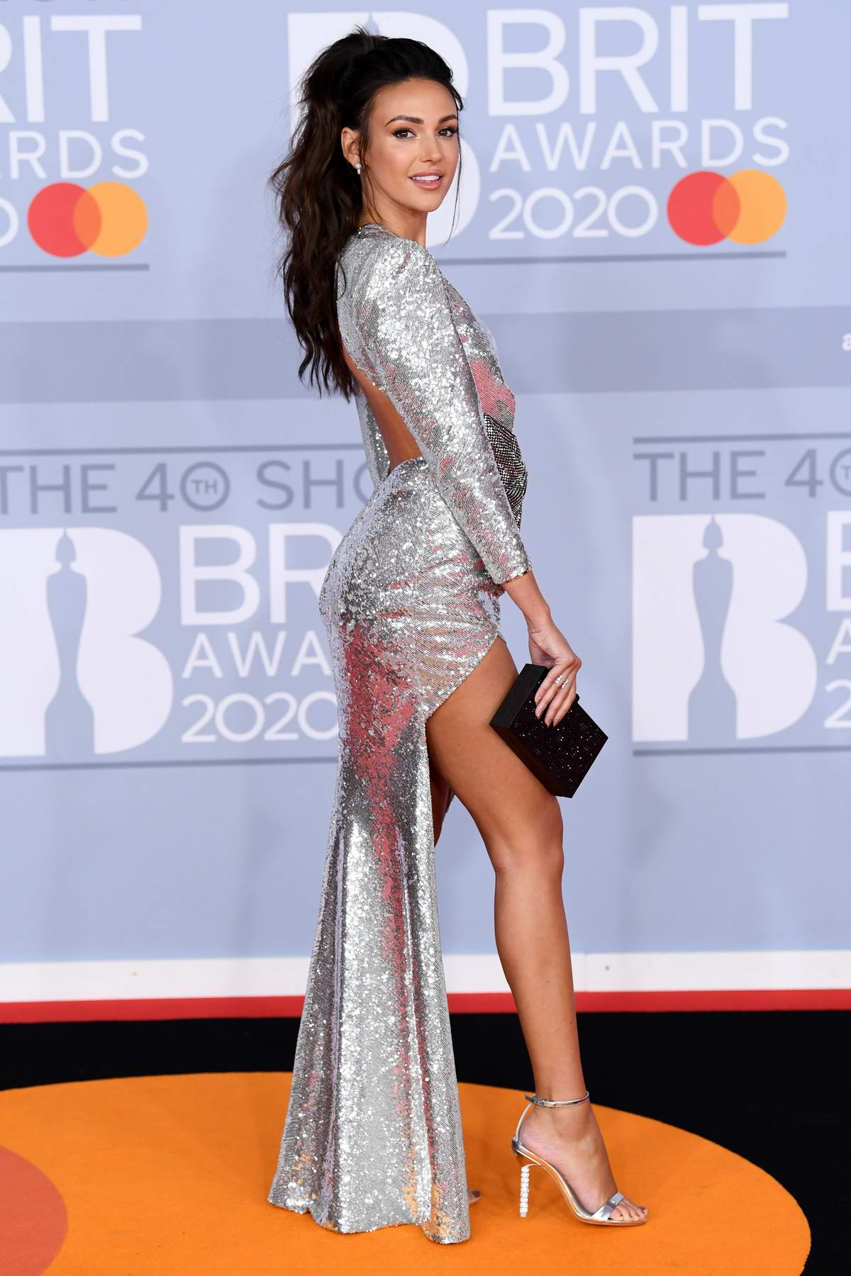Michelle Keegan attends the BRIT Awards 2020 at The O2 Arena in London, UK