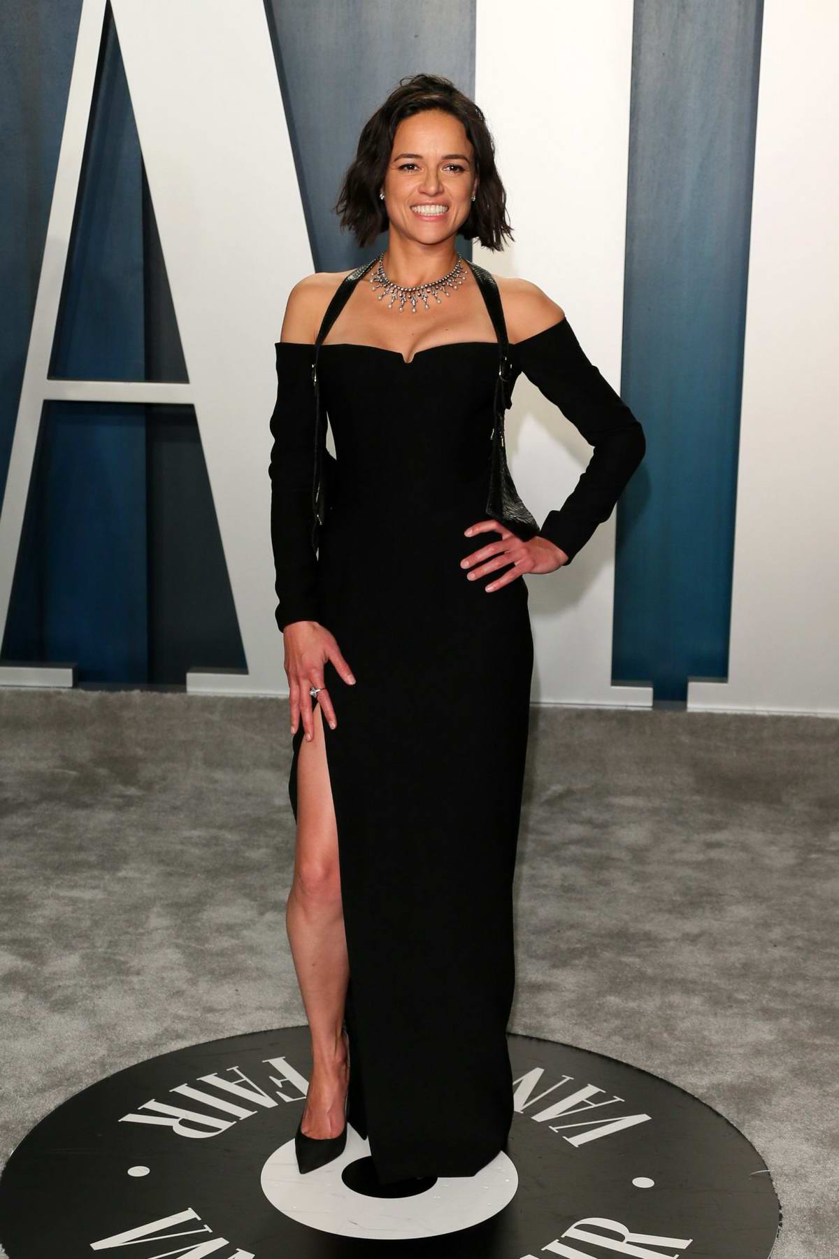 Michelle Rodriguez attends the 2020 Vanity Fair Oscar Party at Wallis Annenberg Center for the Performing Arts in Los Angeles