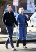 Natalie Dormer sports blue denim jumpsuit while out for a dinner date with David Oakes in Los Angeles