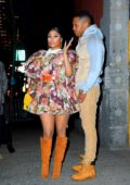 Nicki Minaj dons a floral print dress while attending the Marc Jacobs show during NYFW 2020 in New York City