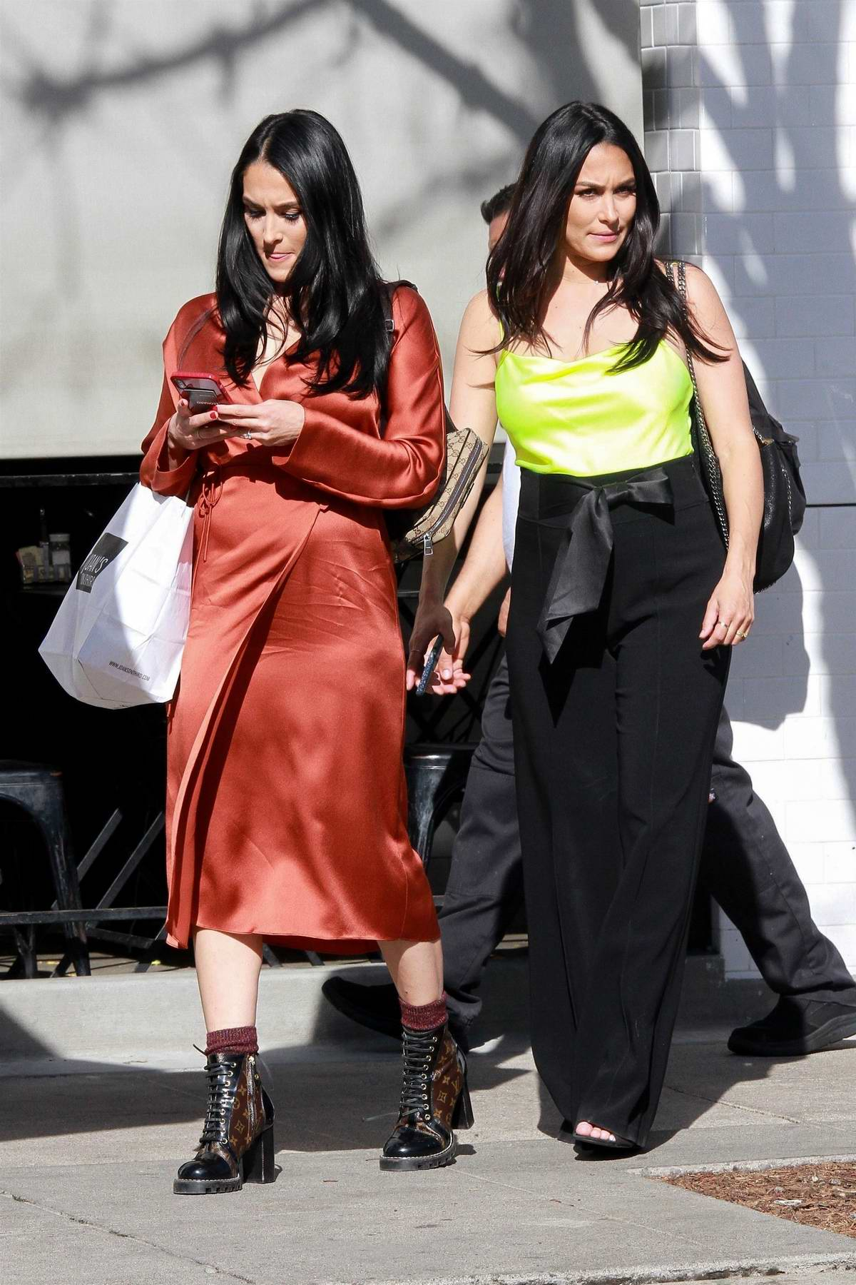 Nikki Bella and Brie Bella grab lunch at Joan's on Third before some shopping in Studio City, California