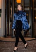 Olivia Culpo looks stuns in blue and black as she steps out during Milan Fashion Week 2020 in Milan, Italy