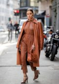 Olivia Culpo puts on a stylish display in all-brown ensemble while out during Milan Fashion Week 2020 in Milan, Italy