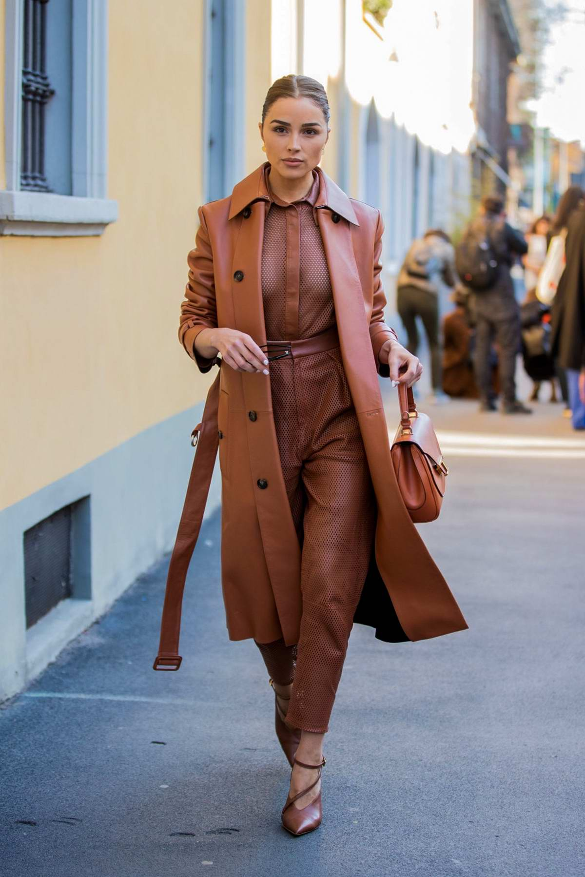 olivia culpo puts on a stylish display in all-brown ensemble while out during milan fashion week 2020 in milan, italy-210220_4