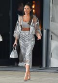 Olivia Culpo stuns in a silver dress while out in Miami Beach, Florida