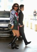 Priyanka Chopra seen wearing a graphic print dress as she leaves Paper Moon restaurant with Nick Jonas in Milan, UK