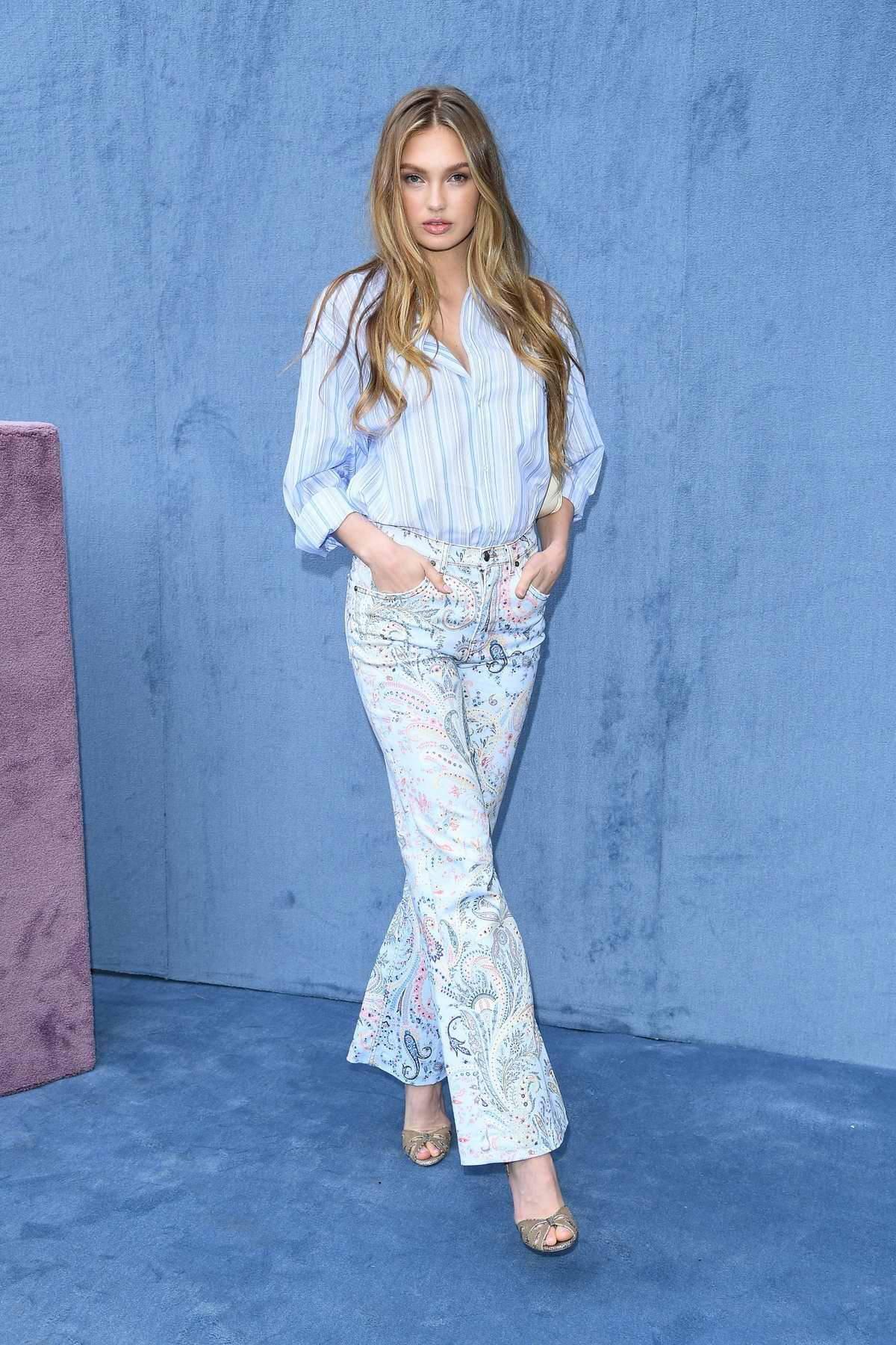 Romee Strijd attends the Etro fashion show, F/W 2020 during Milan Fashion Week in Milan, Italy