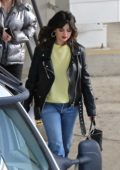 Selena Gomez rocks black leather jacket while out checking new office space with friends in Los Angeles