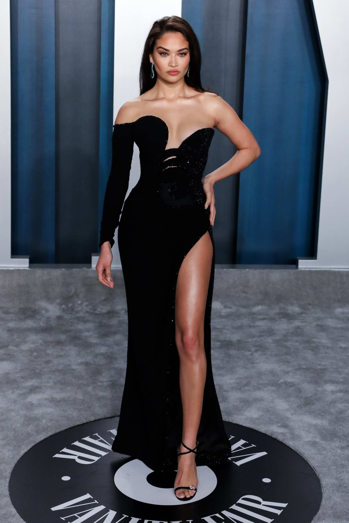 Shanina Shaik attends the 2020 Vanity Fair Oscar Party at Wallis Annenberg Center for the Performing Arts in Los Angeles