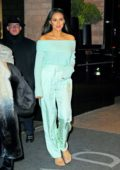 Shay Mitchell glows in tiffany blue outfit as she steps out of a Pampers Q&A in New York City