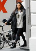 Shay Mitchell keeps it warm in a puffer jacket while out with boyfriend Matte Babel in SoHo, New York City