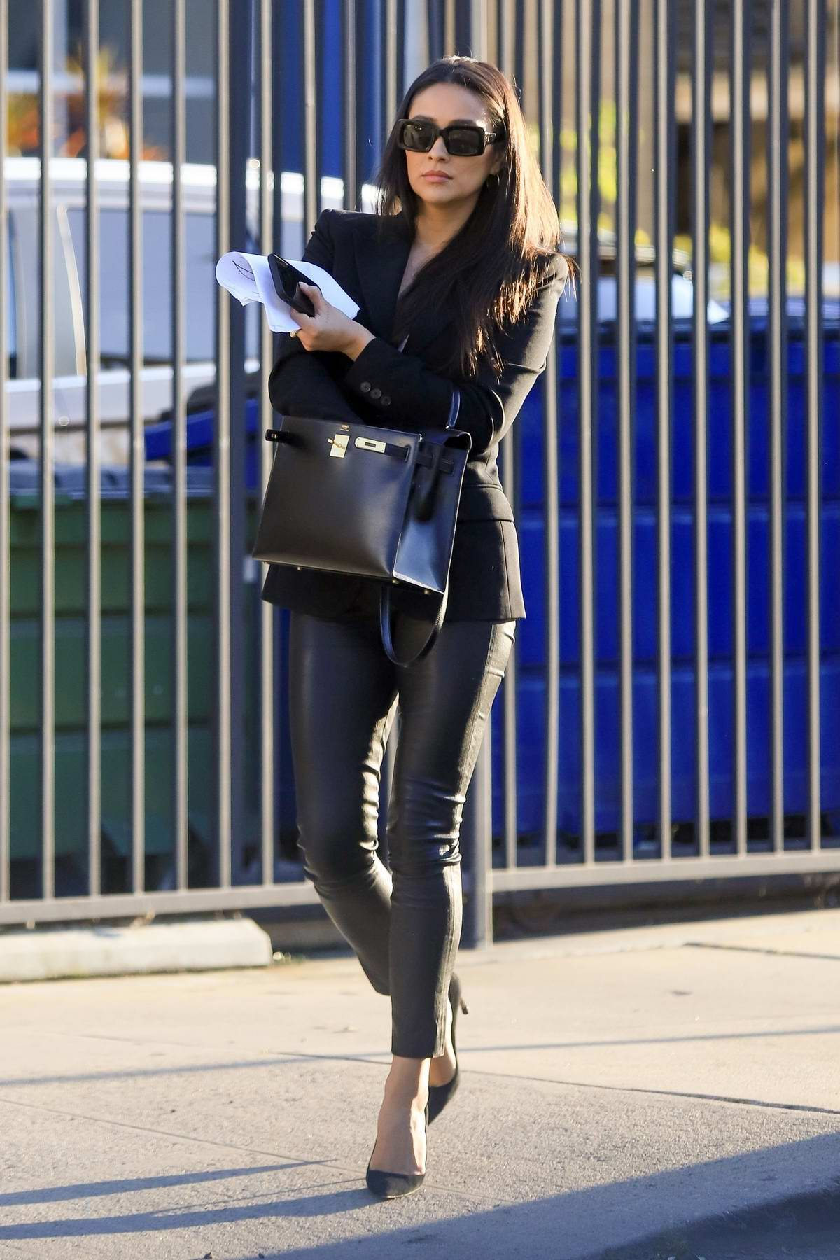 Shay Mitchell looks great in black blazer and leather pants while out for meeting in Culver City, California