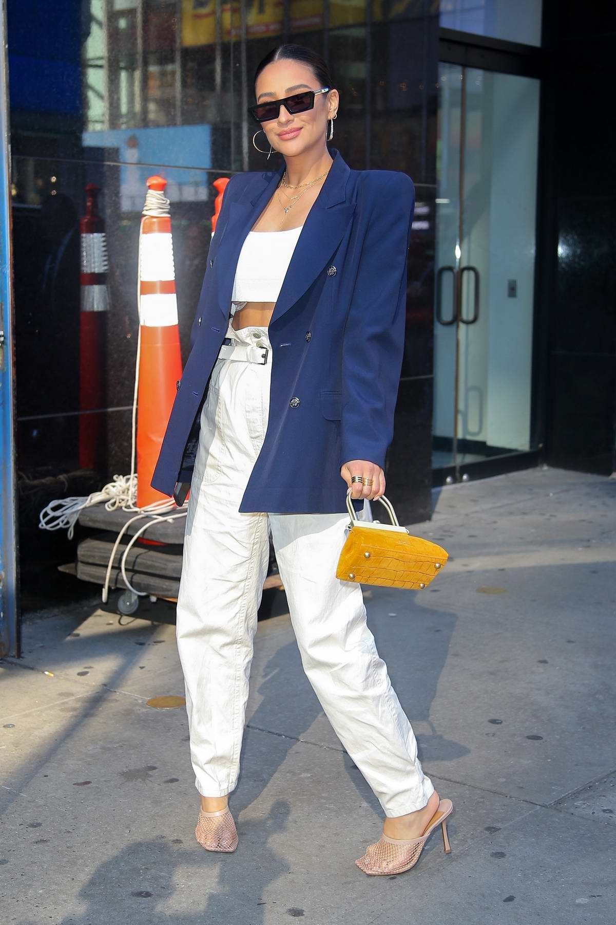 Shay Mitchell looks stylish in a blue blazer while visiting 'Strahan, Sara and Keke' in New York City