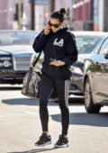 Shay Mitchell seen wearing a black hoodie and leggings as she leaves after a workout session in Los Angeles